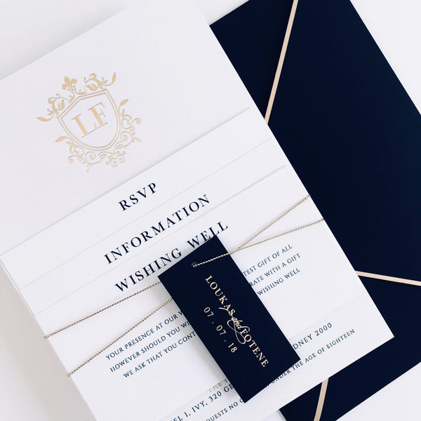modern foil printed wedding invitation suite