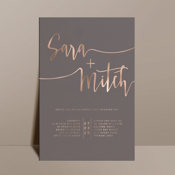 grey modern wedding invitation