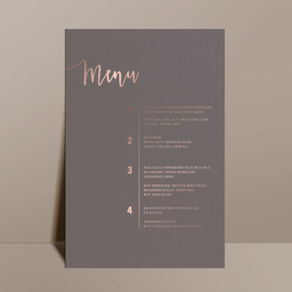 grey rectangular menu card