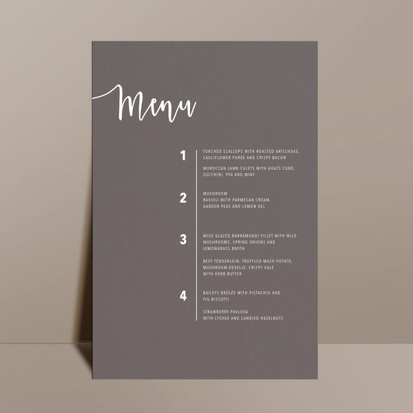 grey rectangular menu white calligraphy