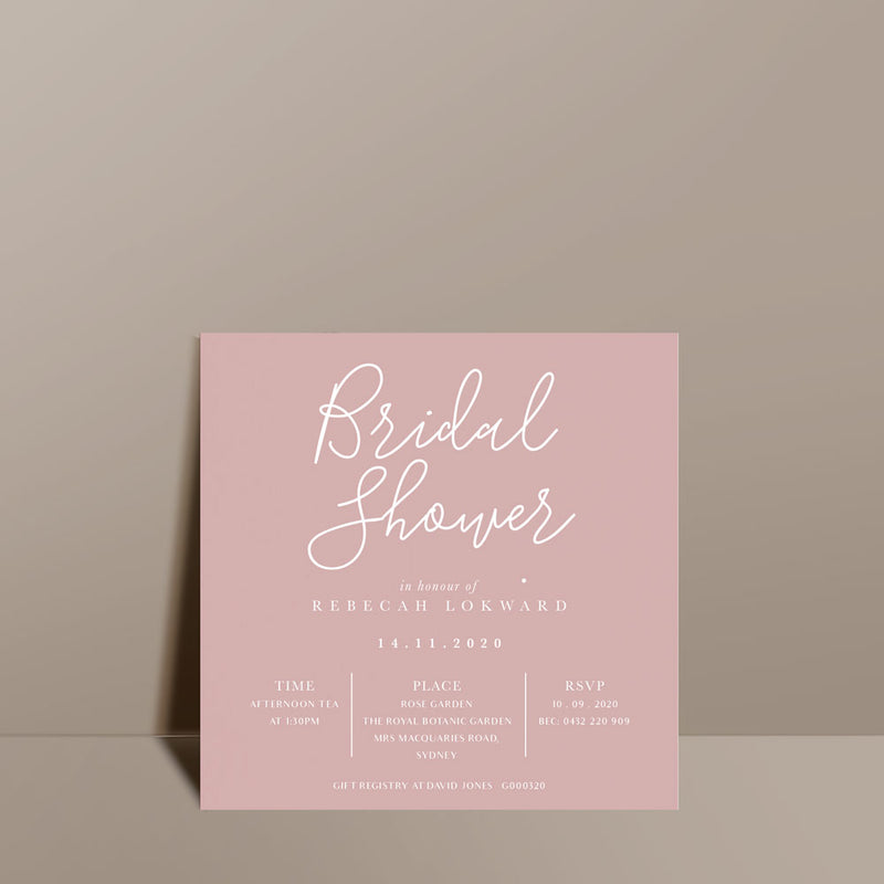 modern blush pink bridal shower invite