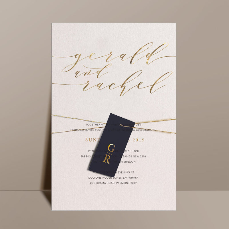 gold foil printed sophisticated ivory invite black swing tag