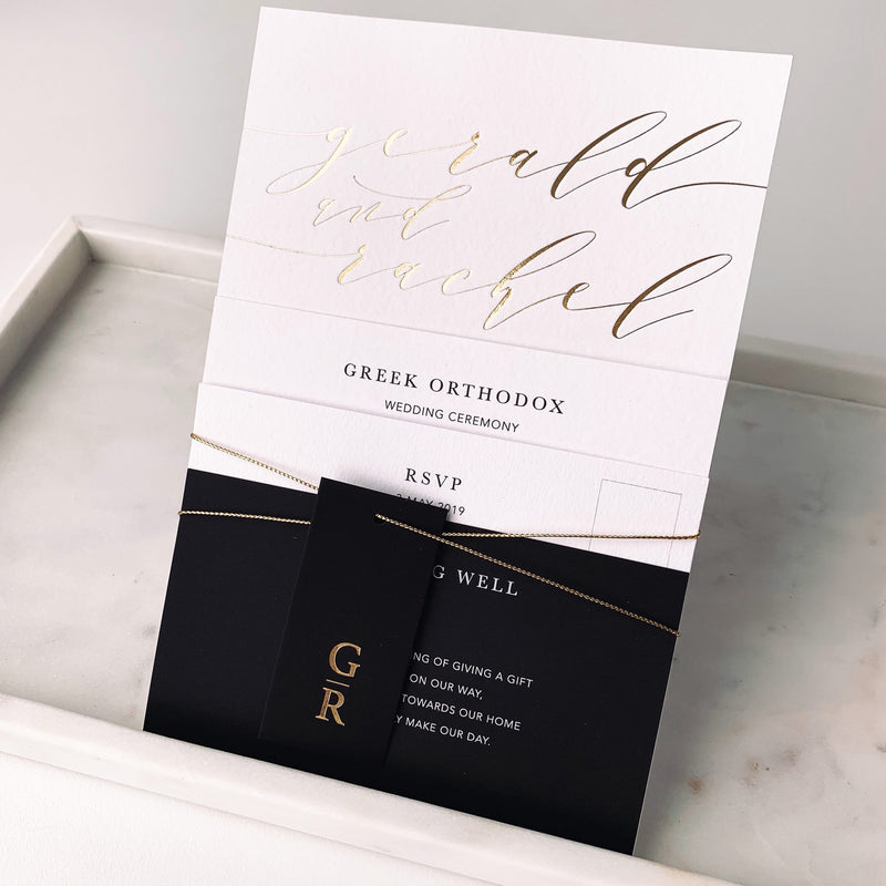 gold foil printed modern wedding invitation suite