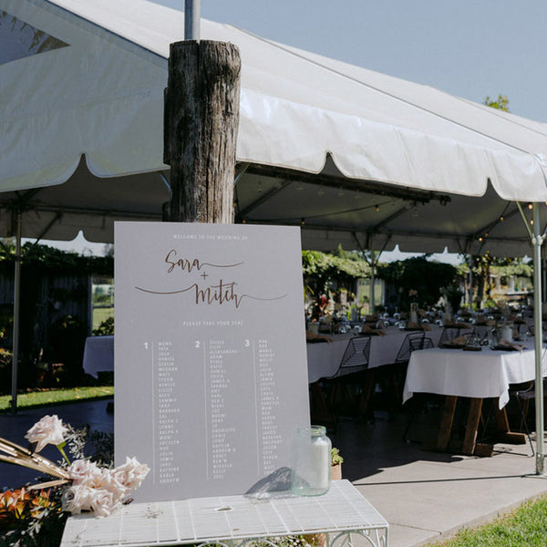 white seating chart rose gold