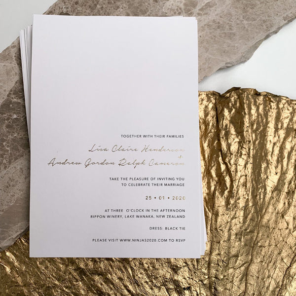 modern foil printed wedding invitation