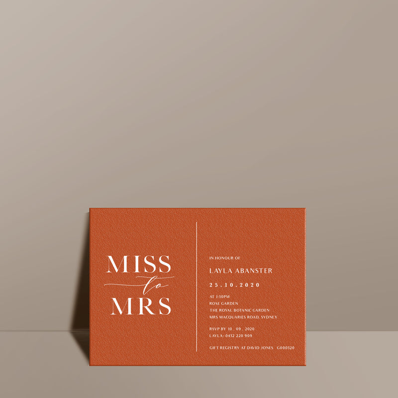 modern orange textured bridal shower invitation