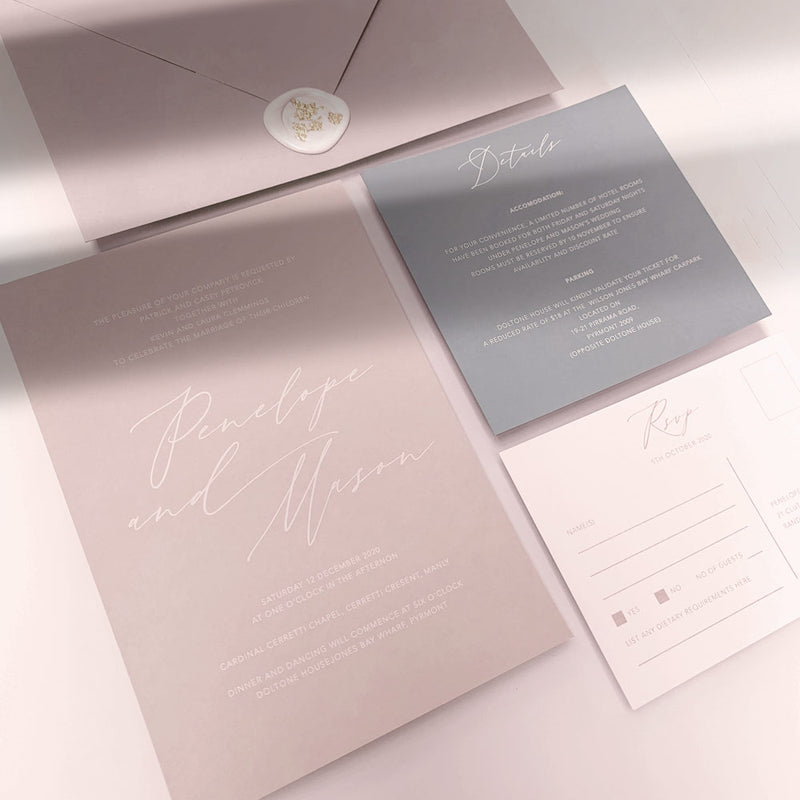 white digital print wedding invitation suite
