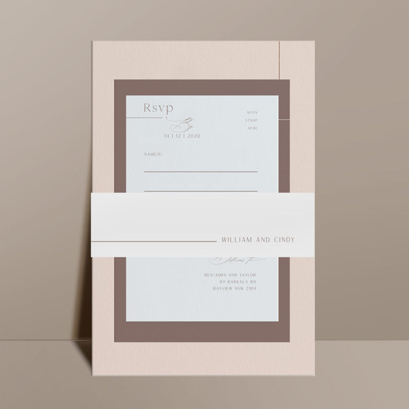 neutral modern wedding invitation suite with belli band