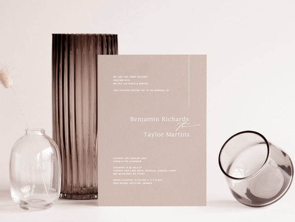 neutral wedding invitation white digital print