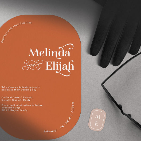 white foil printed orange modern invitation