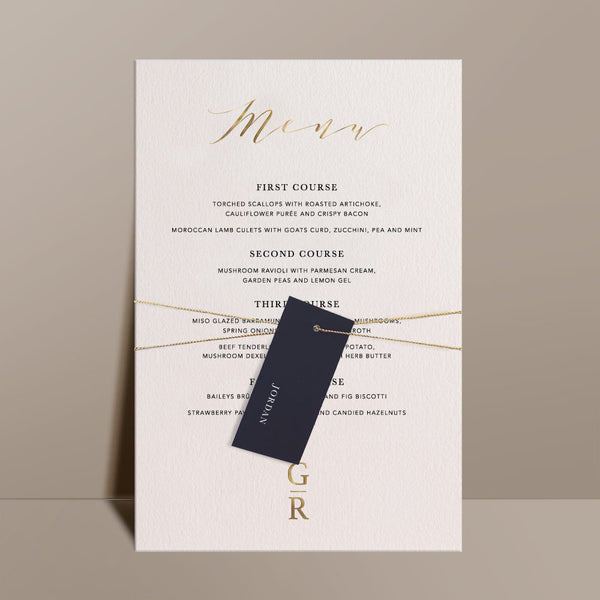 foil print menu with black personalised swing tag