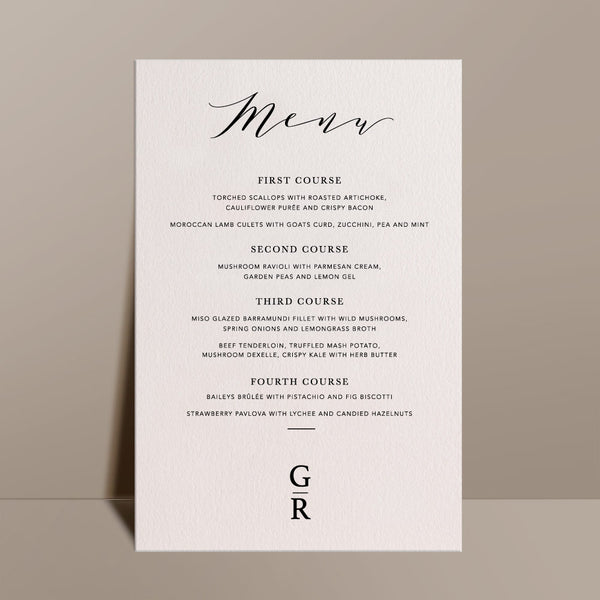 cream rectangular menu card