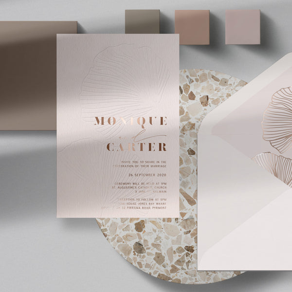 foil printed blind letterpress invitation suite