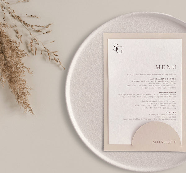 rectangular menu card with nude pocket