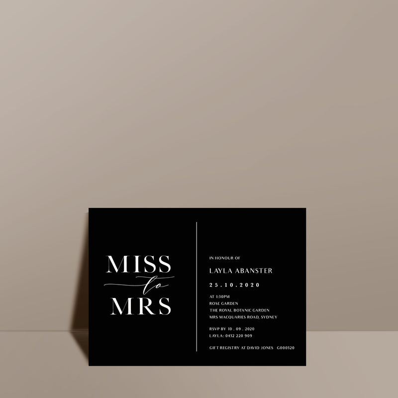 contemporary black bridal shower card
