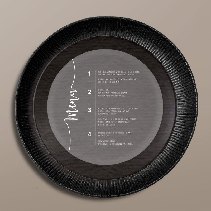 grey round menu card