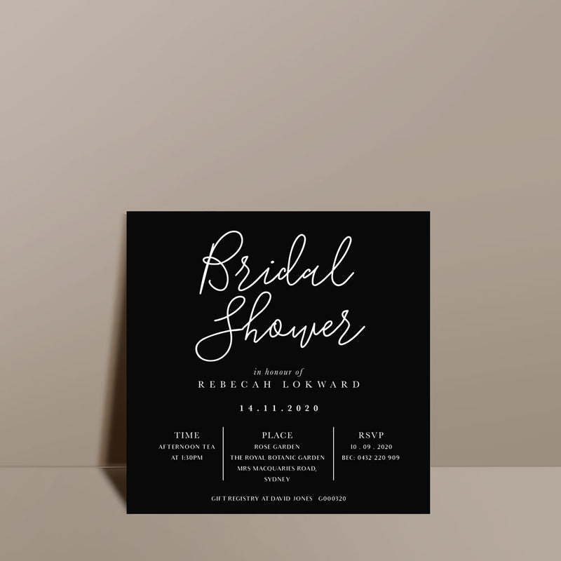 modern black bridal shower invite