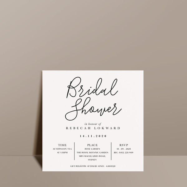 contemporary white bridal shower card