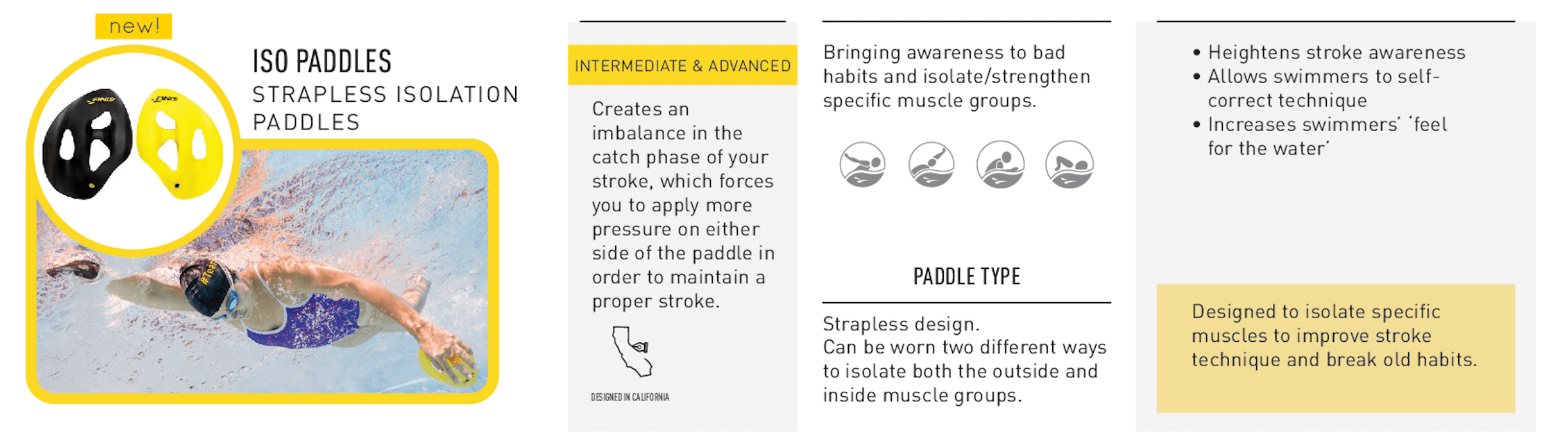 FINIS Iso Paddles help identify and address issues for every level of swimmer