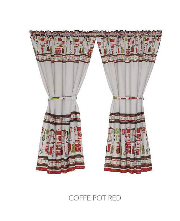 Kitchen Curtain - Coffee Pot Red