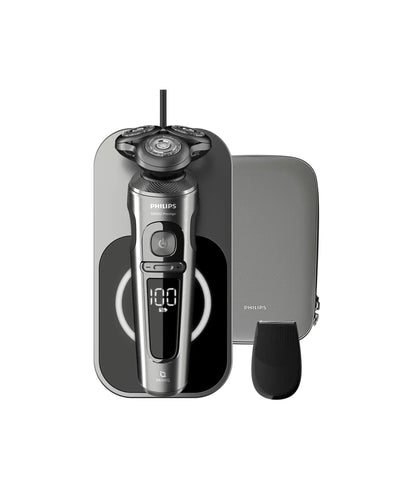 Philips Shaver S9000 Prestige Wet & dry electric shaver, Series 9000 SP9860/13 NanoTech Dual Precision blades High-control suspension system Top-spin digital motor Superb SkinGlide coating