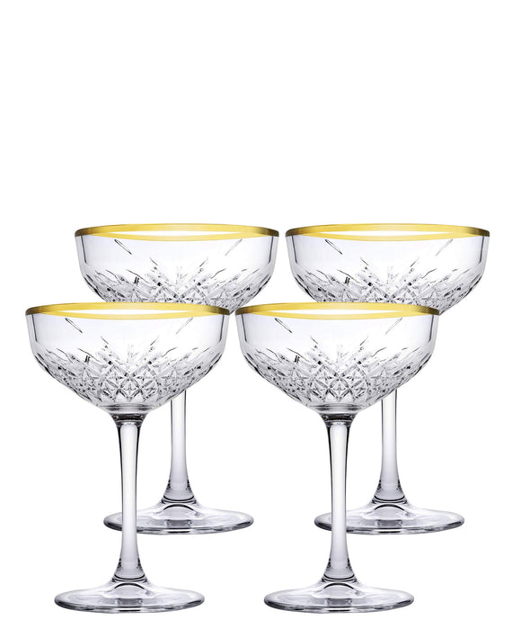 Pasabahce Timeless Cup 4 Piece - Clear With Gold Rim