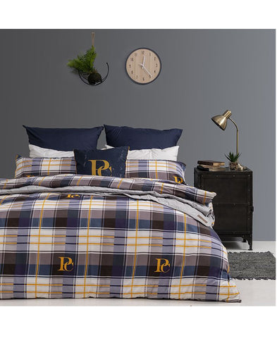 Pierre Cardin Duvet Cover Set -Evon Check- Queen