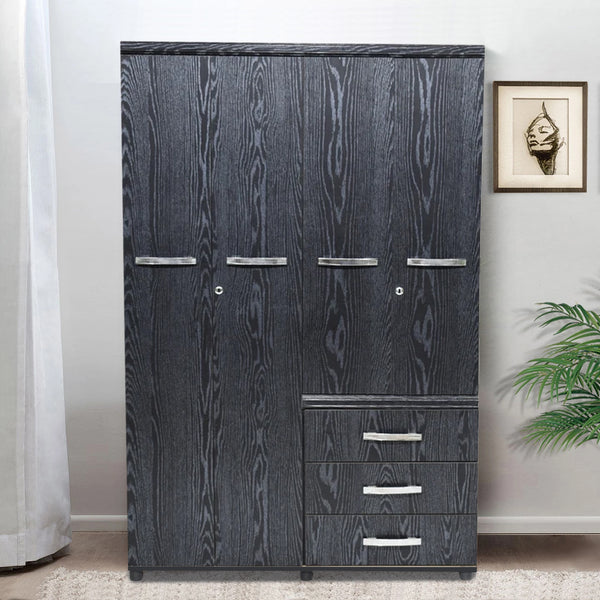 Seville 4 Door Wardrobe Black