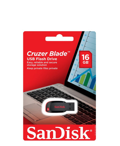 SanDisk 16GB Cruzer Blade USB Flash Drive - Red (Black Friday)