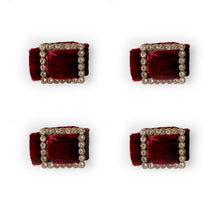 Load image into Gallery viewer, Velvet and Diamante Napkin Ring Set - Berry