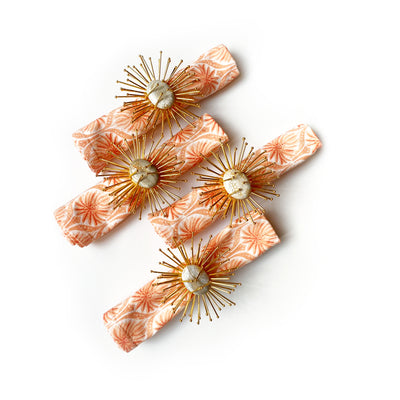 Starburst Napkin ring and Romantic Napkins set - Coral