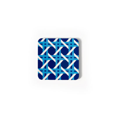 Cane Square Wipeable Coasters, Set of 4 - Blue