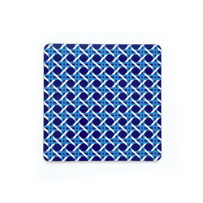 Cane Square Wipeable Placemat - Blue