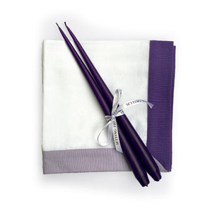 Taper candle and Napkins set - Purple