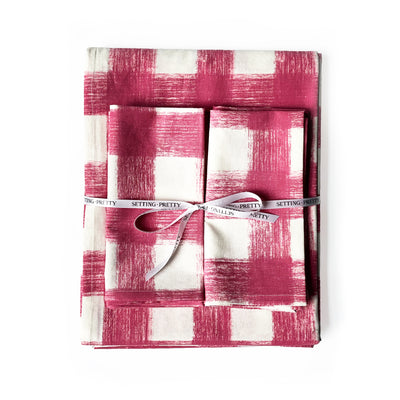 Gingham Tablecloth - Dusty Rose