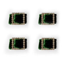 Load image into Gallery viewer, Velvet and Diamante Napkin Ring Set - Green