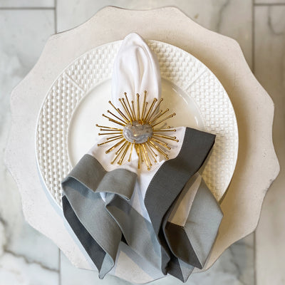 Gold Starburst Napkin Ring - Marble
