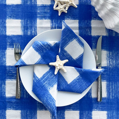 Gingham Napkins, Set of 4 - Azure Blue