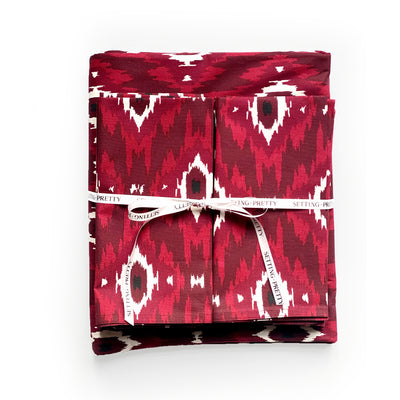 Ikat Tablecloth - Burgundy