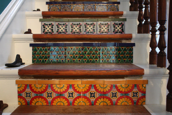 A close up of Suna's tiled stairs.
