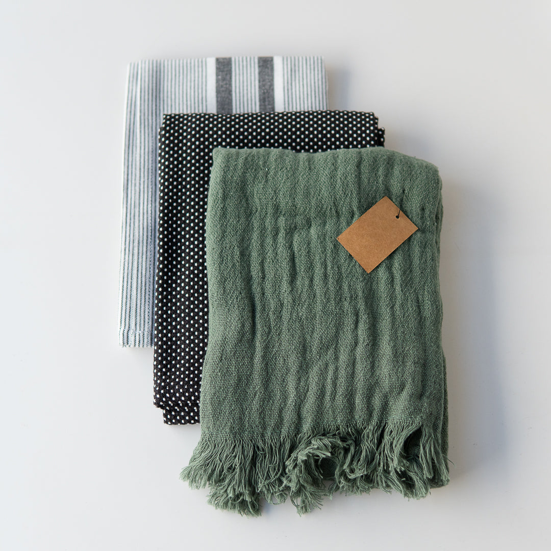Tea Towel Set Green/Black