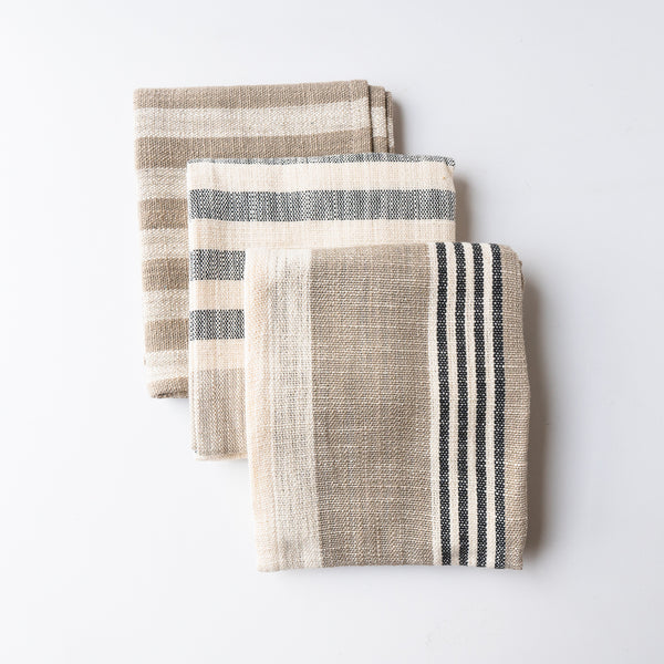 Beige Stripe Tea Towel Set of 3