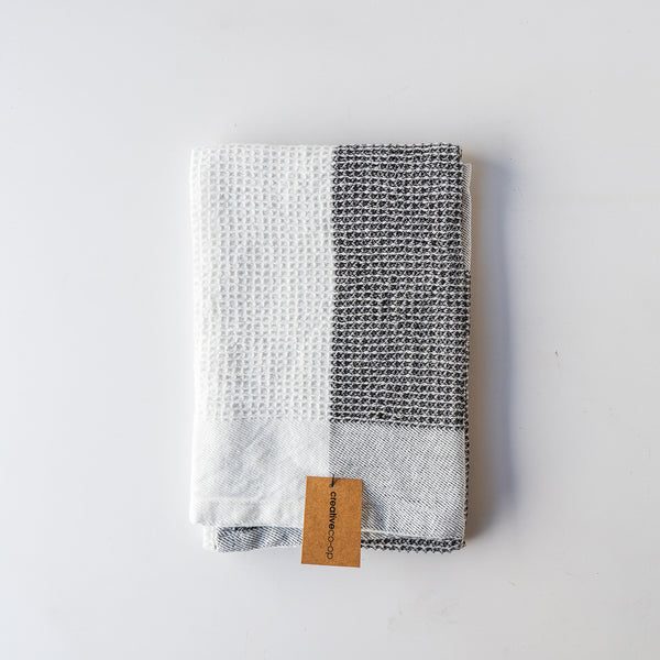 Charcoal Color Block Tea Towel