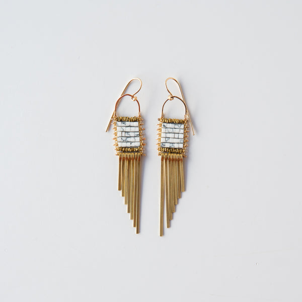 Gold and Howlite Asymmetrical Earrings