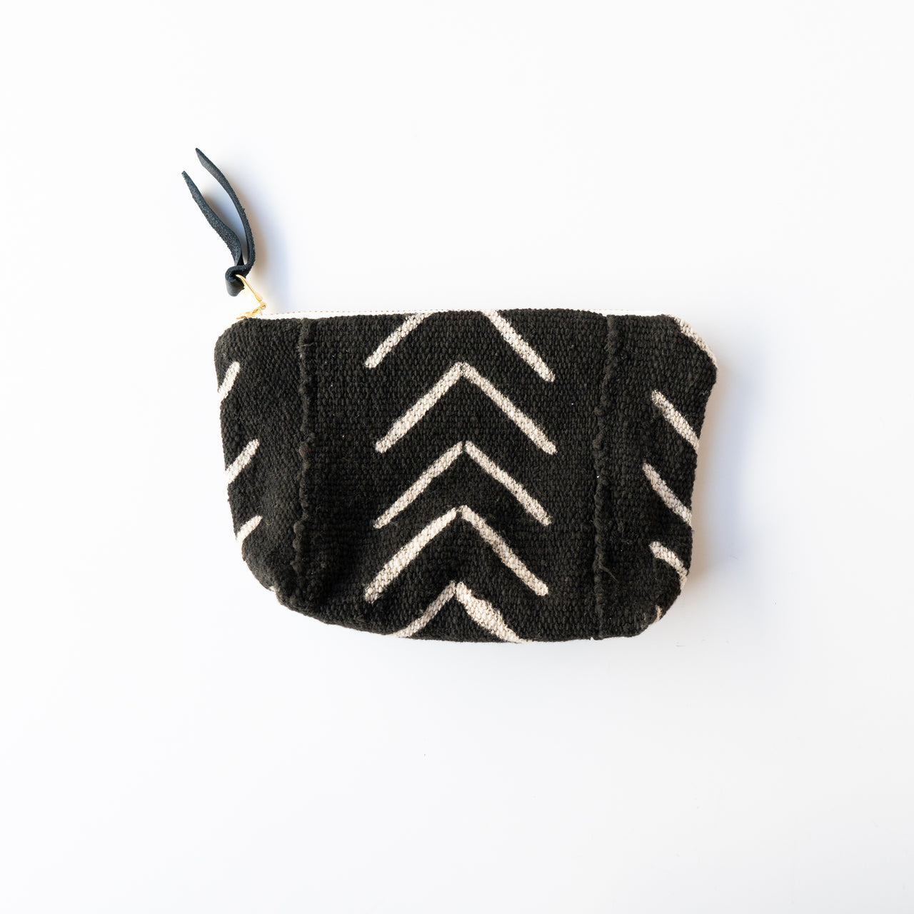 Mud Cloth Zip Pouch Black and White