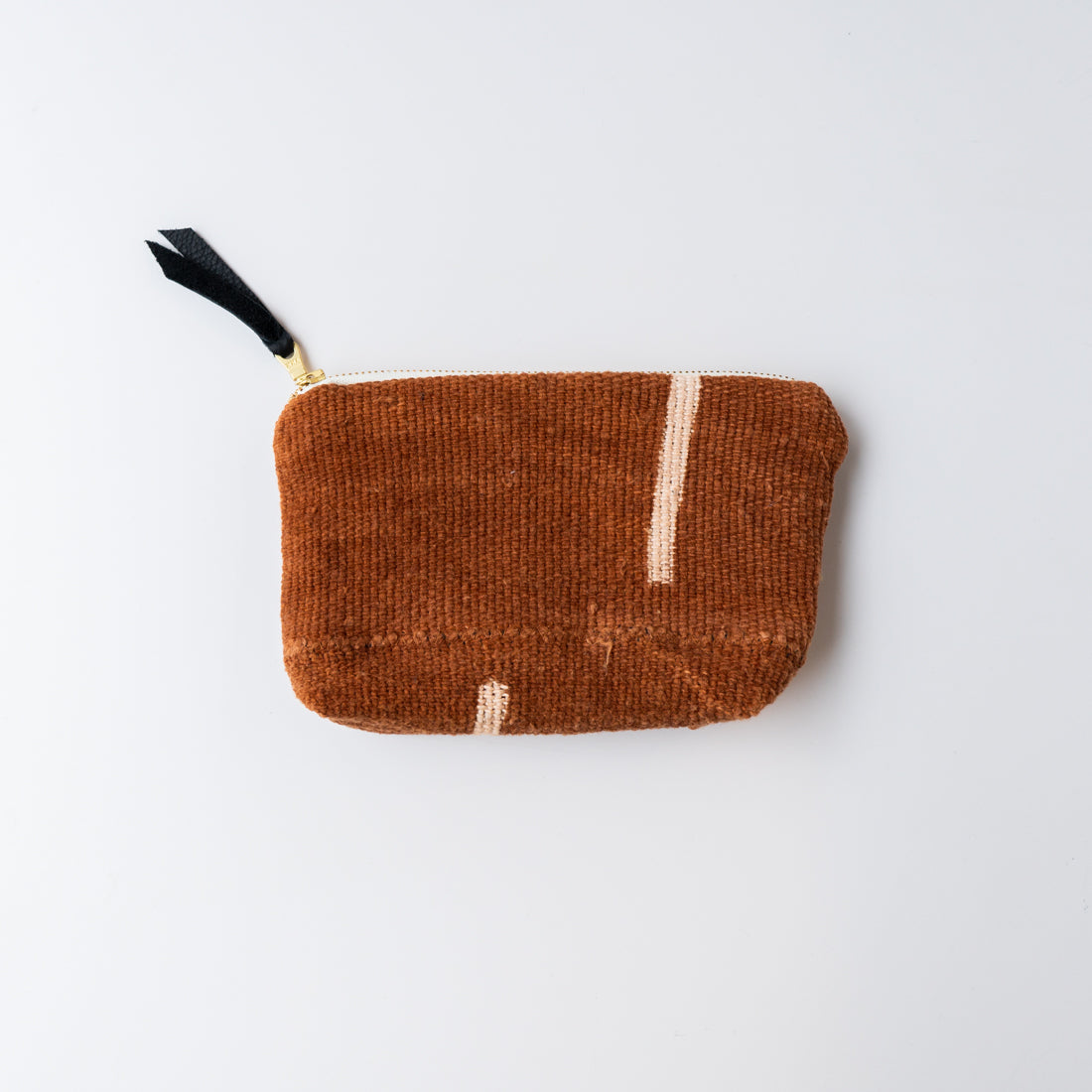Mud Cloth Zip Pouch Rust Stripe