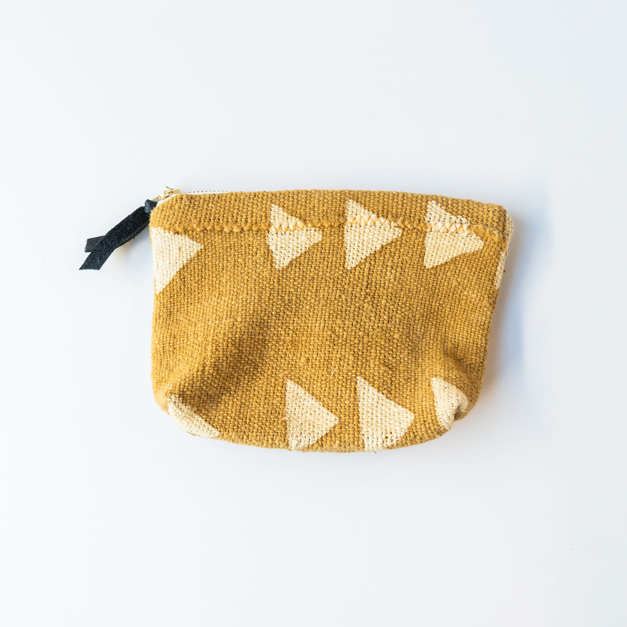Mud Cloth Zip Pouch - Yellow Small