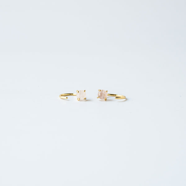 Rose Quartz Huggie Earring