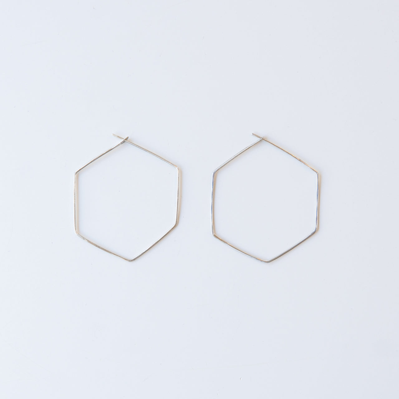 Sterling Silver Hexagon Hoops