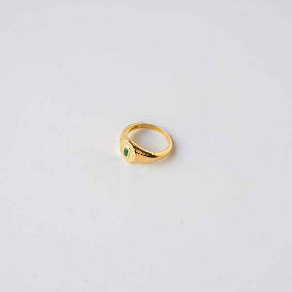 Dean Statement Ring - Gold & Emerald
